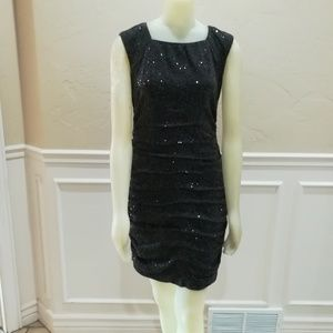 Taylor charcoal ruched sequin dress